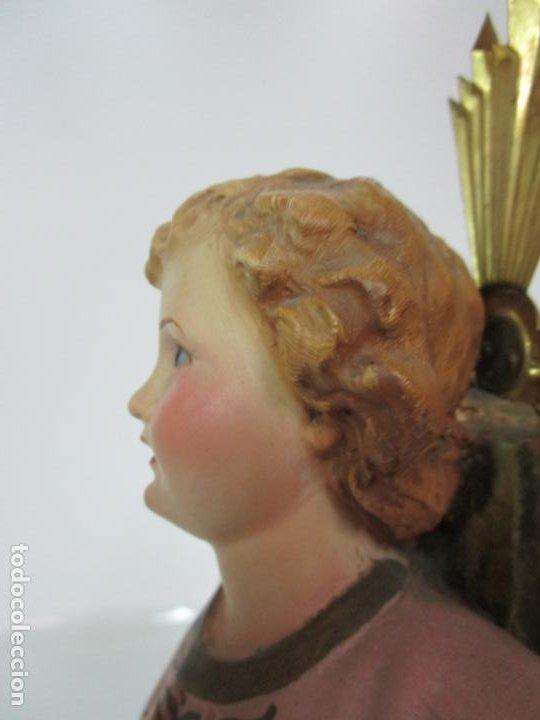 Arte: San Juanito a la Cruz- Niño Jesús - Estuco Policromado - Sello Arte Olotense, Olot -Principios S. XX - Foto 17 - 184366715