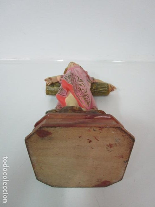 Arte: San Juanito a la Cruz- Niño Jesús - Estuco Policromado - Sello Arte Olotense, Olot -Principios S. XX - Foto 18 - 184366715