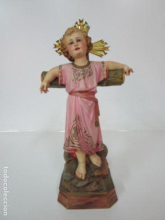 Arte: San Juanito a la Cruz- Niño Jesús - Estuco Policromado - Sello Arte Olotense, Olot -Principios S. XX - Foto 19 - 184366715