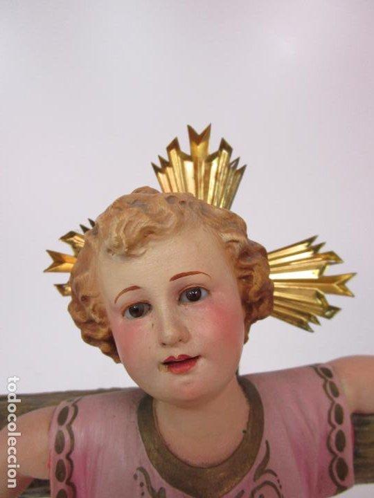 Arte: San Juanito a la Cruz- Niño Jesús - Estuco Policromado - Sello Arte Olotense, Olot -Principios S. XX - Foto 21 - 184366715