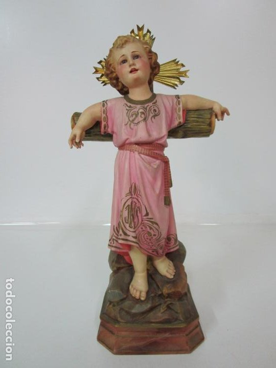 Arte: San Juanito a la Cruz- Niño Jesús - Estuco Policromado - Sello Arte Olotense, Olot -Principios S. XX - Foto 22 - 184366715