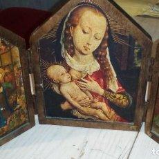 Arte: ANTIGUO TRIPTICO RELIGIOSO EN MADERA PARA MESA. Lote 184409537