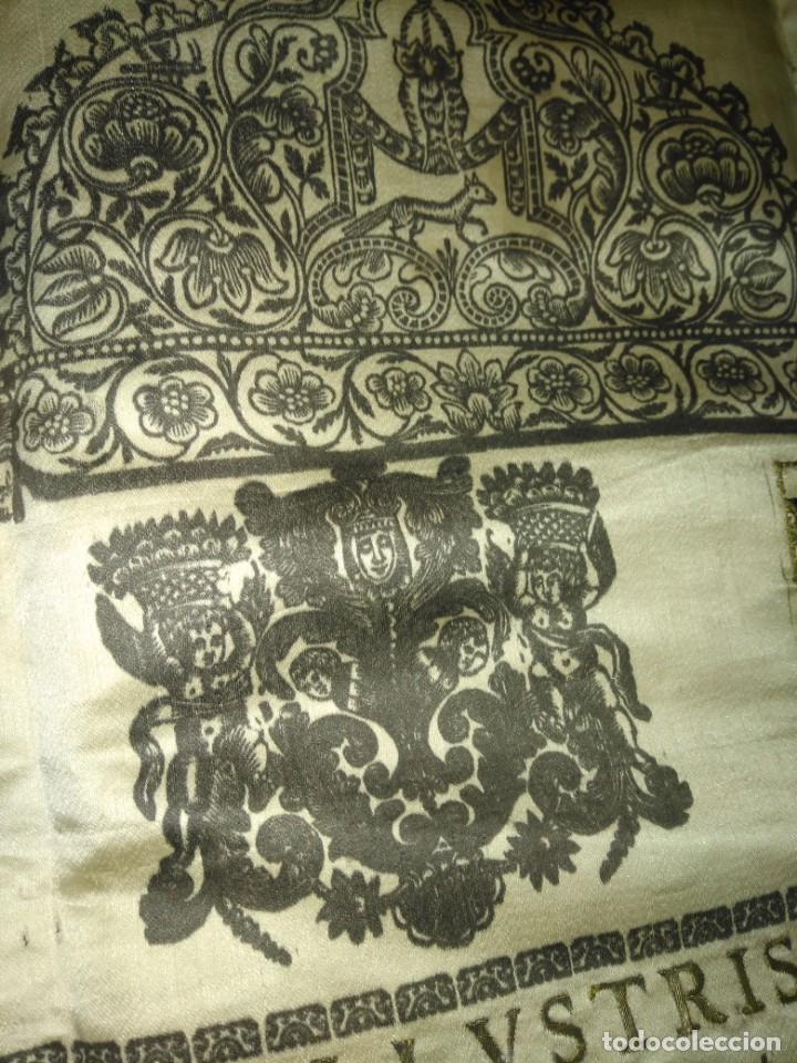 Arte: EXCEPCIONAL TAPIZ RELIGIOSO RECONOCIMIENTO AL HONOR,GRABADO IMPRESO SOBRE SEDA Y BORDADO.AÑO 1760 - Foto 5 - 184493476
