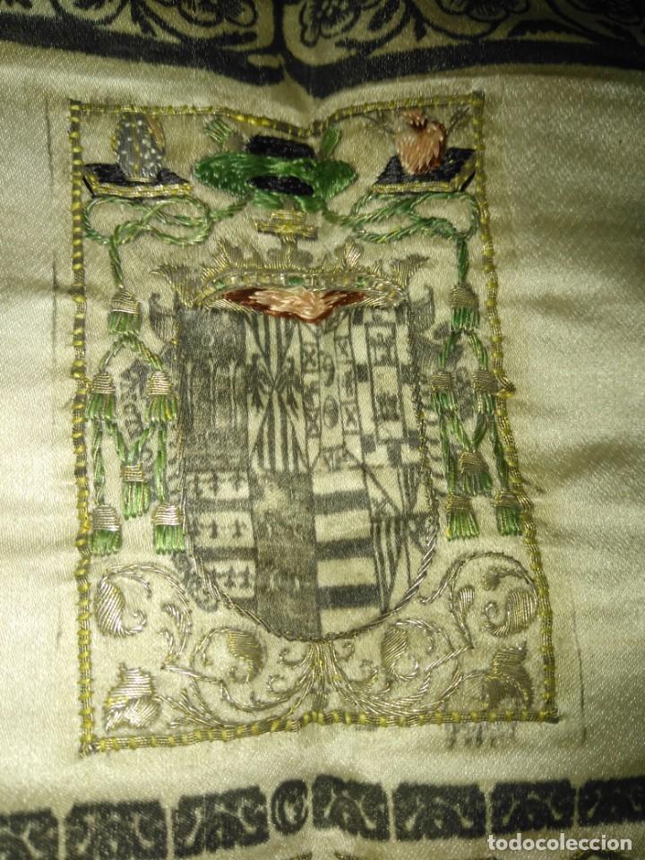 Arte: EXCEPCIONAL TAPIZ RELIGIOSO RECONOCIMIENTO AL HONOR,GRABADO IMPRESO SOBRE SEDA Y BORDADO.AÑO 1760 - Foto 6 - 184493476