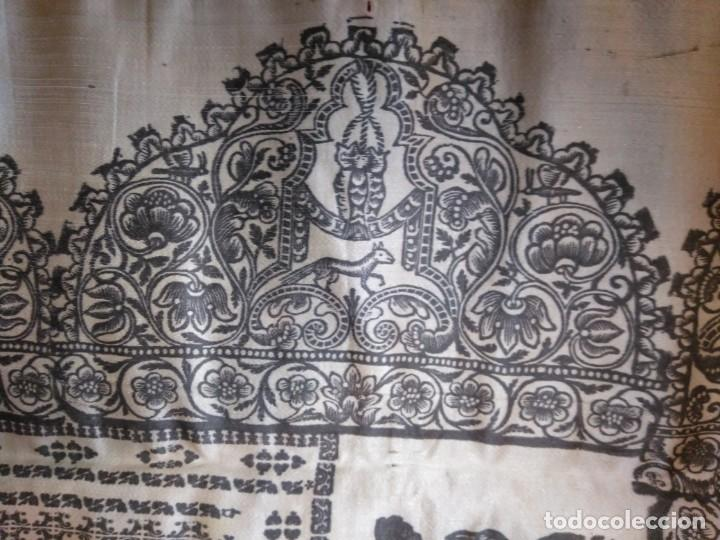 Arte: EXCEPCIONAL TAPIZ RELIGIOSO RECONOCIMIENTO AL HONOR,GRABADO IMPRESO SOBRE SEDA Y BORDADO.AÑO 1760 - Foto 12 - 184493476