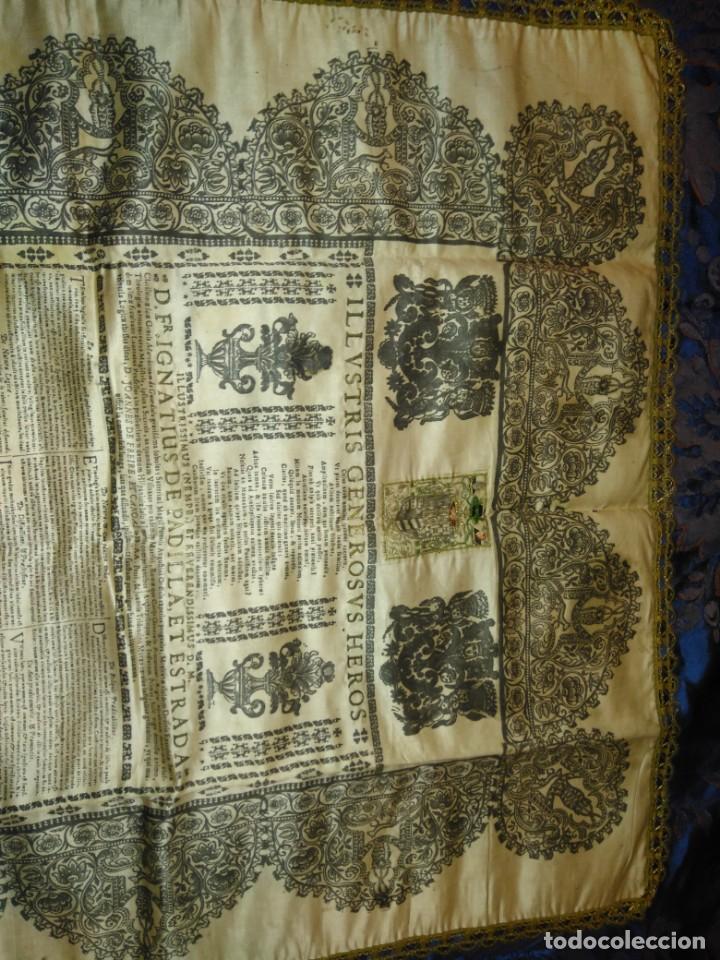Arte: EXCEPCIONAL TAPIZ RELIGIOSO RECONOCIMIENTO AL HONOR,GRABADO IMPRESO SOBRE SEDA Y BORDADO.AÑO 1760 - Foto 18 - 184493476