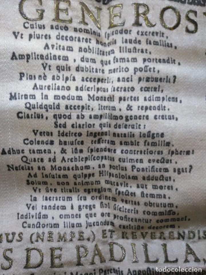 Arte: EXCEPCIONAL TAPIZ RELIGIOSO RECONOCIMIENTO AL HONOR,GRABADO IMPRESO SOBRE SEDA Y BORDADO.AÑO 1760 - Foto 22 - 184493476
