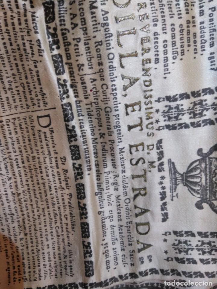 Arte: EXCEPCIONAL TAPIZ RELIGIOSO RECONOCIMIENTO AL HONOR,GRABADO IMPRESO SOBRE SEDA Y BORDADO.AÑO 1760 - Foto 26 - 184493476