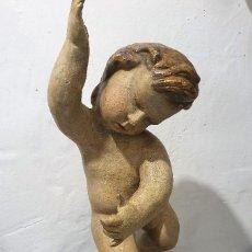 Arte: ANTIGUA TALLA NIÑO S.XVIII DE MADERA POLICROMADA. Lote 184593276