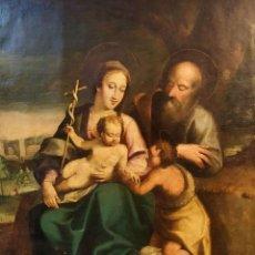 Arte: SAGRADA FAMILIA Y SAN JUANITO. ÓLEO SOBRE LIENZO. ESCUELA ITALIANA. ITALIA. SIGLO XVII. Lote 184613793