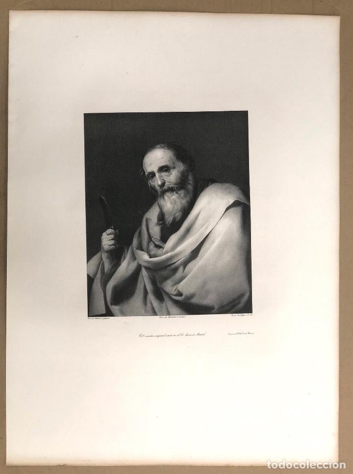 LITOGRAFIA SAN BARTOLOME. APOSTOLADO DEL PRADO. JOSE DE RIBERA. SIGLO XIX (Arte - Arte Religioso - Litografías)