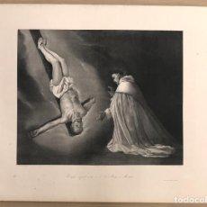 Arte: LITOGRAFIA APARICION DE SAN PEDRO A SAN PEDRO NOLASCO. ZURBARAN. SIGLO XIX. Lote 184627752