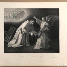 Arte: LITOGRAFIA VISION DE SAN PEDRO NOLASCO. ZURBARAN. SIGLO XIX. Lote 184628001