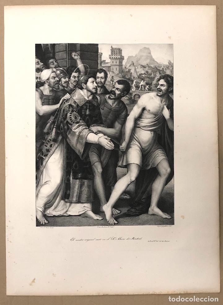 LITOGRAFIA SAN ESTEBAN CONDUCIDO AL MARTIRIO. JUAN DE JUANES. SIGLO XIX (Arte - Arte Religioso - Litografías)