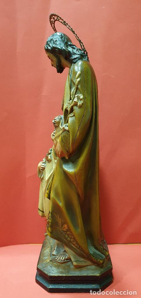 Arte: Precioso San José con Niño de estuco policromado. Olot. - Foto 11 - 184655531