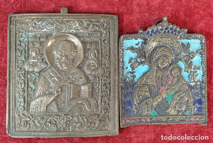 PAREJA DE ICONOS RELIGIOSOS ORTODOXOS. BRONCE ESMALTADO. EUROPA. SIGLO XIX-XX. (Arte - Arte Religioso - Escultura)