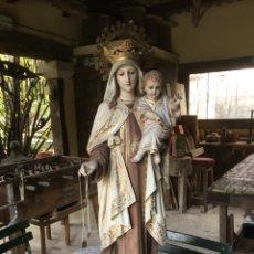 Art: PRECIOSA Y GRANDE 1M VIRGEN Y NIÑO JESUS TALLERES DE OLOT. Lote 184692198