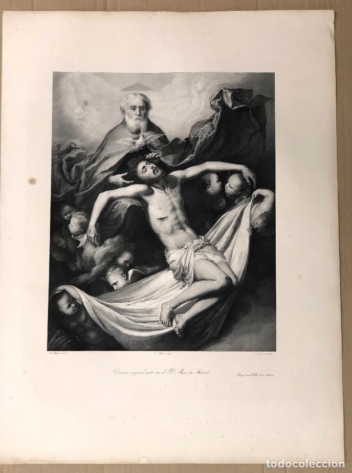 LITOGRAFIA LA TRINIDAD. JOSE RIBERA. SIGLO XIX (Arte - Arte Religioso - Litografías)