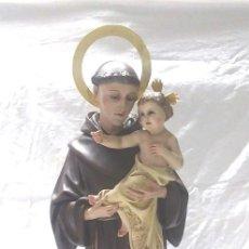 Art: SAN ANTONIO DE PADUA EN MOVIMIENTO, TALLER RENALIAS TARRASA AÑOS 40, OJOS CRISTAL. MED 84 CM. Lote 184763603
