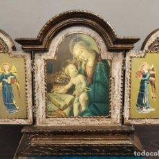 Arte: TRÍPTICO MADERA Y ESTUCO MAS BASE.. Lote 184794377