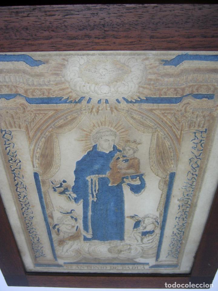 Arte: Grabado al boj iluminado - S.XVIII - San Antonio de Padua - Foto 2 - 184803070