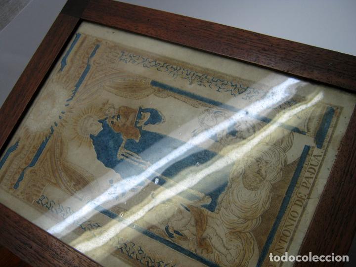 Arte: Grabado al boj iluminado - S.XVIII - San Antonio de Padua - Foto 4 - 184803070