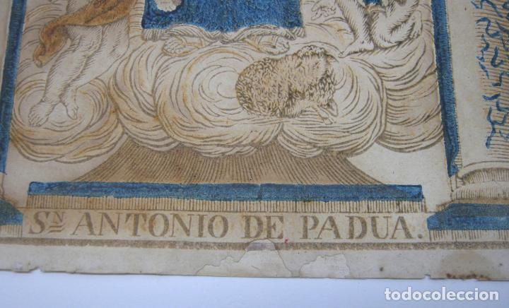 Arte: Grabado al boj iluminado - S.XVIII - San Antonio de Padua - Foto 5 - 184803070