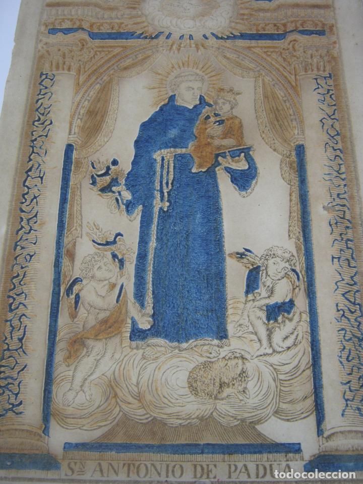 Arte: Grabado al boj iluminado - S.XVIII - San Antonio de Padua - Foto 7 - 184803070