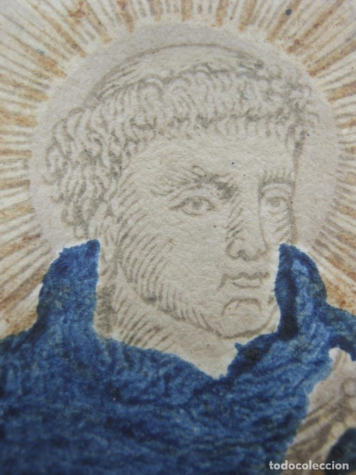 Arte: Grabado al boj iluminado - S.XVIII - San Antonio de Padua - Foto 8 - 184803070