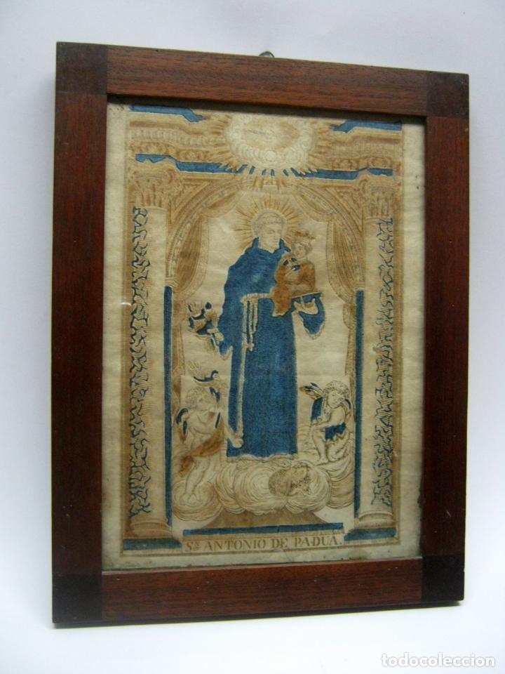GRABADO AL BOJ ILUMINADO - S.XVIII - SAN ANTONIO DE PADUA (Arte - Arte Religioso - Grabados)