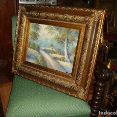 Arte: ESPECTACULAR OLEO ANTIGUO DE ESTILO IMPRESIONISTA PINTADO SOBRE TABLA Y MARCOS TALLADOS Y PAN DE ORO. Lote 184845892