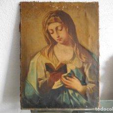 Arte: PINTURA AL ÓLEO DE VIRGEN CON LIBRO DEL SIGLO XVIII ORIGINAL. Lote 184651970