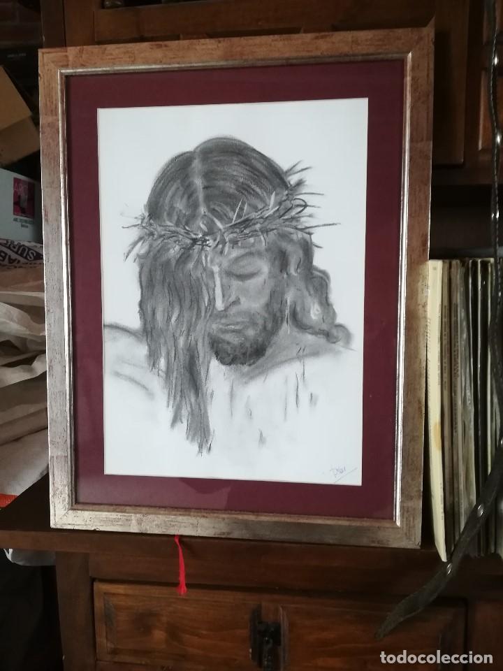 DIBUJO ORIGINAL FIRMADO. CRISTO, EN CARBONCILLO Y ENMARCADO. FIRMADO PILAR (Arte - Arte Religioso - Pintura Religiosa - Otros)