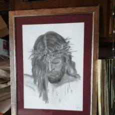 Arte: DIBUJO ORIGINAL FIRMADO. CRISTO, EN CARBONCILLO Y ENMARCADO. FIRMADO PILAR. Lote 184869832