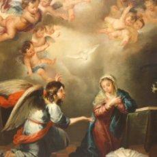 Arte: ESCUELA SEVILLANA FINALES SIGLO XVIII. OLEO TELA. ARCANGEL GABRIEL ANUNCIANDO LA LLEGADA DEL MESIAS . Lote 185701053
