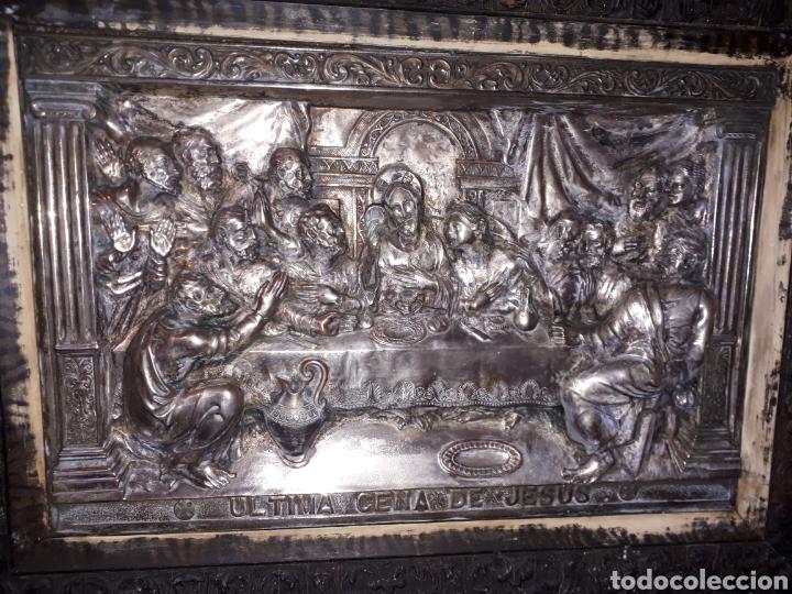 Arte: Cuadro la ultima cena de Jesús de metal platiado - Foto 2 - 185712356