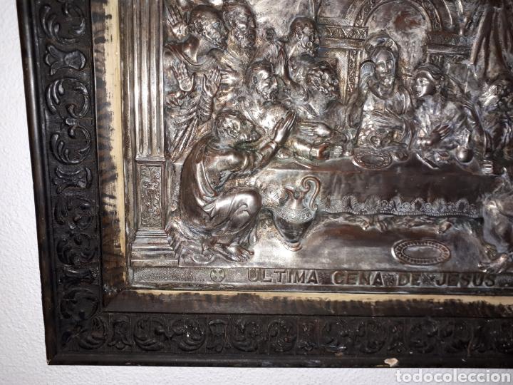 Arte: Cuadro la ultima cena de Jesús de metal platiado - Foto 6 - 185712356