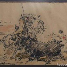 Arte: ROBERTO DOMINGO - TAUROMAQUIA PICADOR TINTA ACUARELA. Lote 185735548