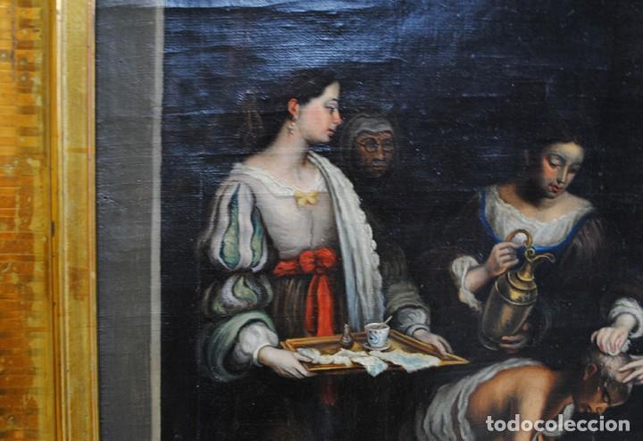 Arte: ÓLEO SOBRE LIENZO SANTA ISABEL DANDO DE COMER A LOS NIÑOS - Foto 4 - 185770177