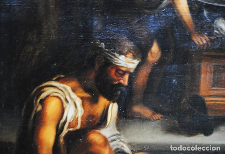 Arte: ÓLEO SOBRE LIENZO SANTA ISABEL DANDO DE COMER A LOS NIÑOS - Foto 12 - 185770177