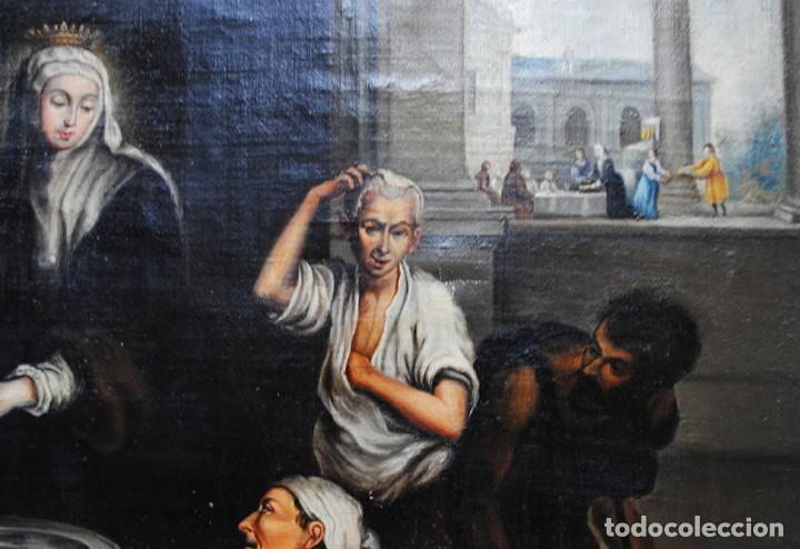 Arte: ÓLEO SOBRE LIENZO SANTA ISABEL DANDO DE COMER A LOS NIÑOS - Foto 15 - 185770177