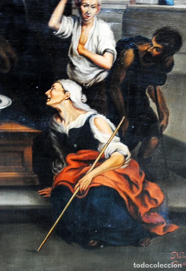 Arte: ÓLEO SOBRE LIENZO SANTA ISABEL DANDO DE COMER A LOS NIÑOS - Foto 16 - 185770177