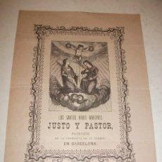 Arte: 1899 GRABADO XILOGRAFICO LOS SANTOS NIÑOS MARTIRES JUSTO Y PASTOR PARROQUIA DE BARCELONA - RELIGION. Lote 185786741