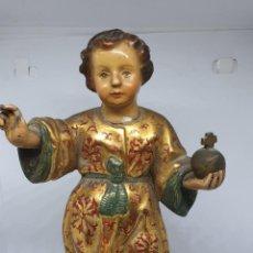 Arte: PRECIOSO NIÑO JESUS ESTOFADO EN ESTUCO Y MANOS EN PLOMO,S. XVIII-XIX. Lote 185921008