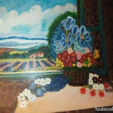 Arte: ÓLEO SOBRE LIENZO FIRMADO HERREROS PAISAJE FLORES VENTANA PRECIOSO. Lote 185923497