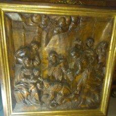 Arte: ESPECTACULAR ALTO RELIEVE ADORACIÓN AL NIÑO JESÚS. Lote 185977766