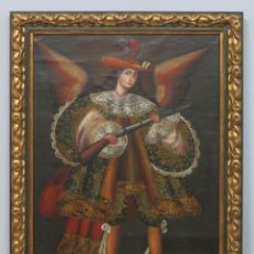 Arte: PRECIOSO ANGEL ARCABUCERO. OLEO S/ LIENZO. ESCUELA CUZQUEÑA. Lote 186018252