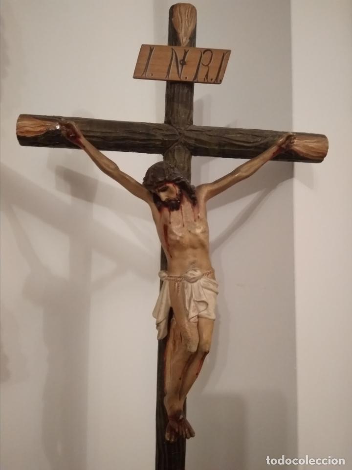 Arte: CRUCIFIJO EN MADERA Y ESTUCO SIGLO XIX --BUEN ESTADO - Foto 3 - 186019435