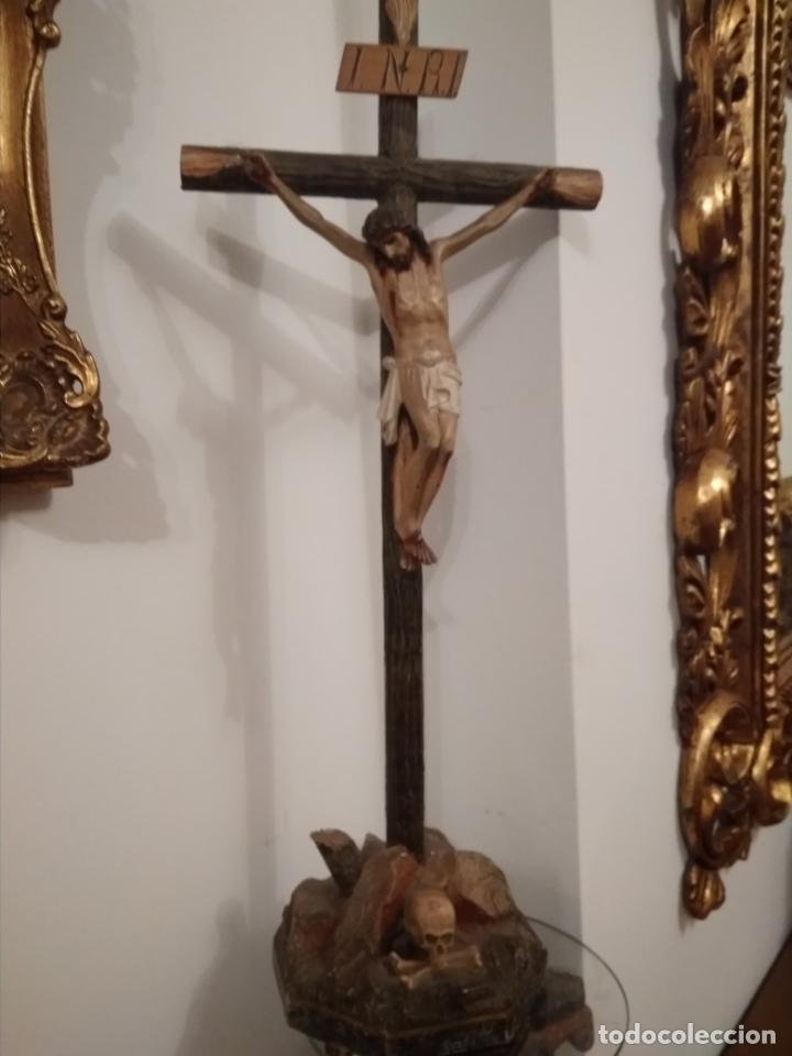 CRUCIFIJO EN MADERA Y ESTUCO SIGLO XIX --BUEN ESTADO (Arte - Arte Religioso - Escultura)