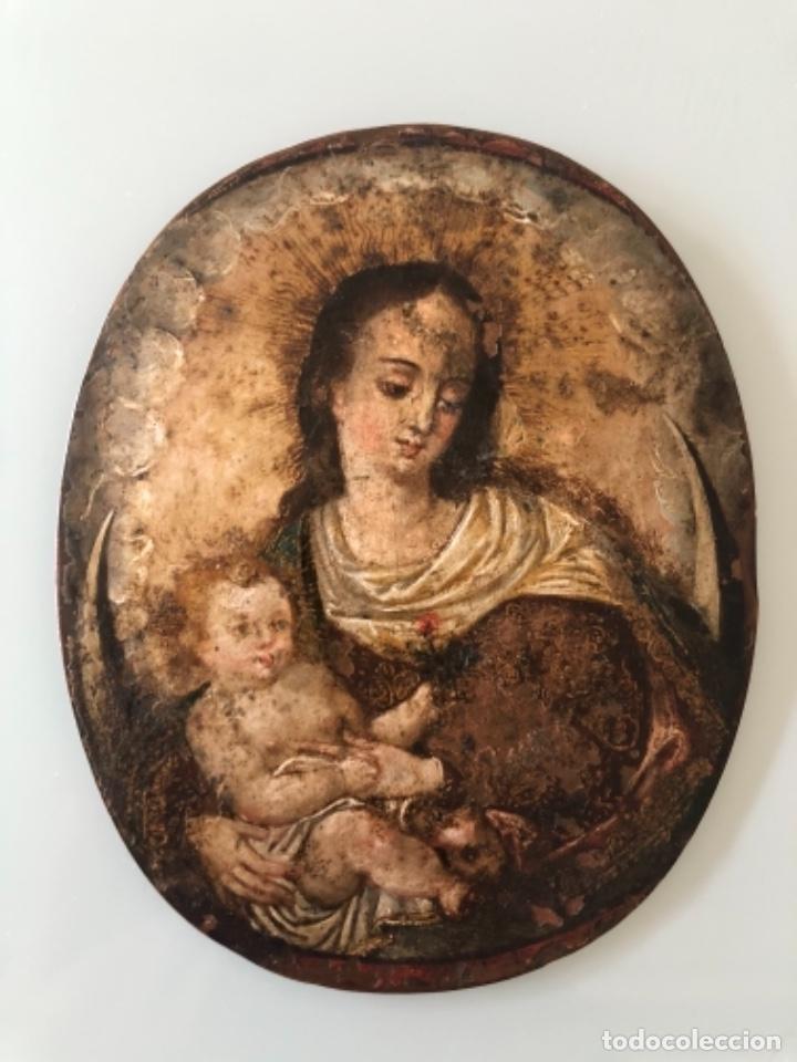 ÓLEO SOBRE COBRE, VIRGEN INMACULADA Y NIÑO JESÚS, BARROCO, SIGLO XVII (Arte - Arte Religioso - Pintura Religiosa - Oleo)